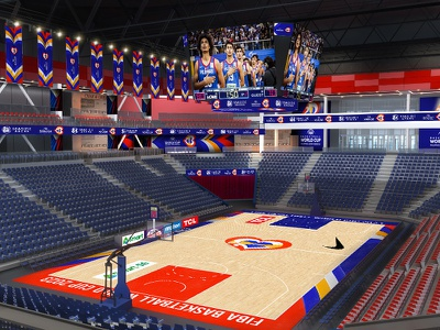 Seaside City Arena Mockup floor design basketball floor arena design