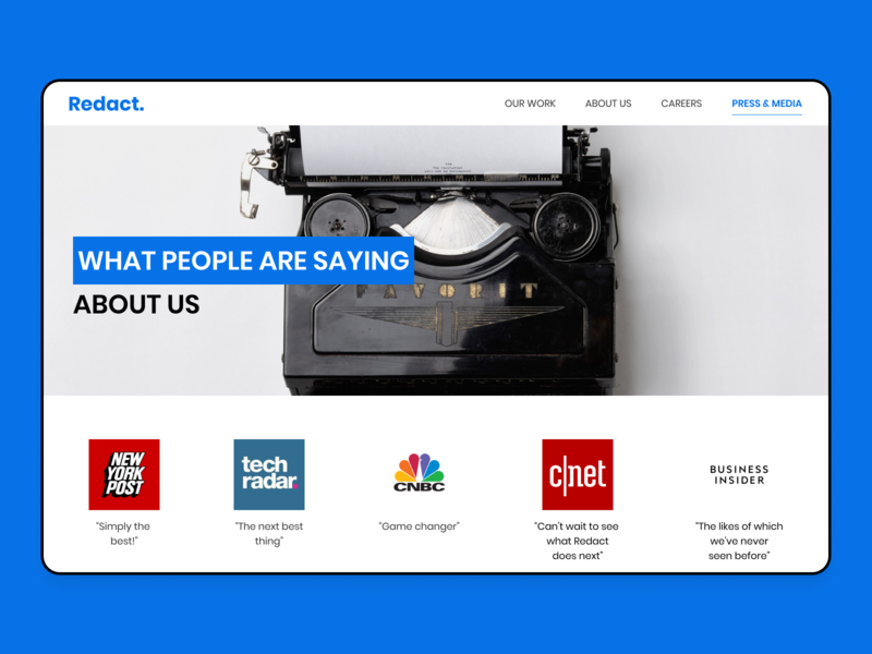 Daily UI #051 ui design blue website design about us press page daily ui 051 daily ui challenge