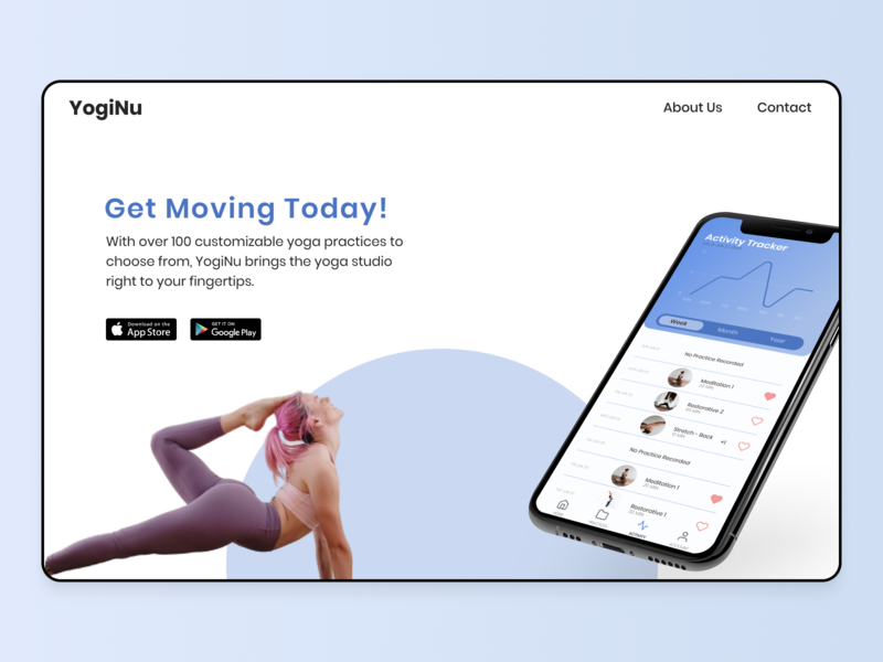 Daily UI #074 ui design google play store app store app page app download download download page yoga app workout tracker workout app blue website design download app daily ui 074 daily ui challenge