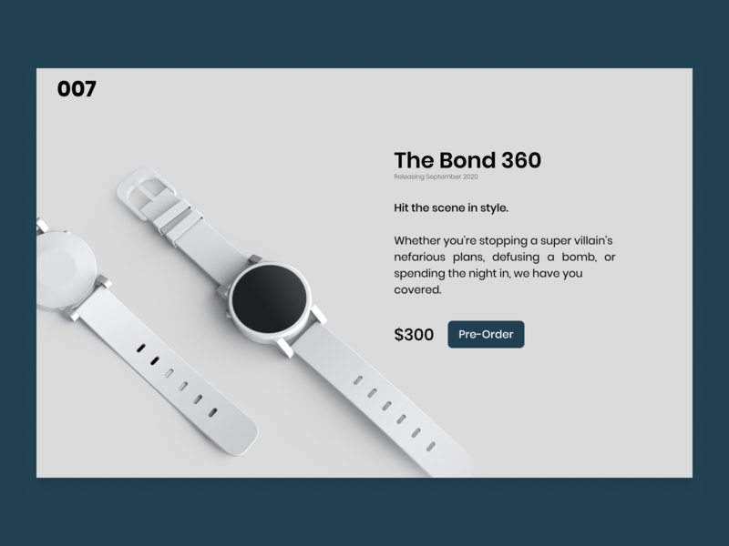 Daily UI #075 preorder design pre-order james bond ecommerce watch ui design website design preorder daily ui 075 daily ui challenge