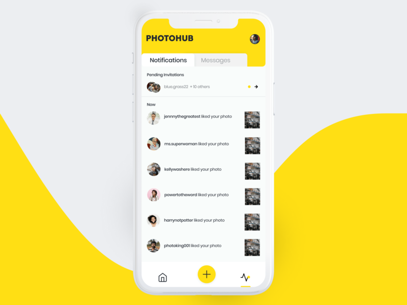 Daily UI #078 photography social media app ui design yellow mobile app design friend request pending pending invitation daily ui 078 daily ui challenge