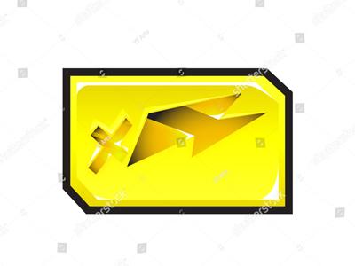 Energetic Lightning Sticker Vector Art label black socket orange jack base deep yellow power electric cross way