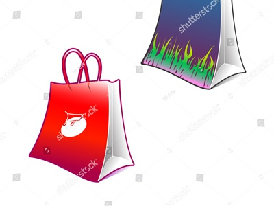 Custom Shopping Bag Vector Art collection pack gift pick grass carry red order bear buy print mall