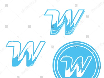 W - Branding & Logo Vector Art w word letter character circle life extrude white double print squeezed bit