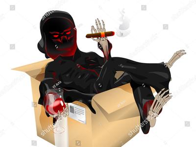 Death Delivery - Vector Art & CS:GO Sticker mail fate wine sit deliver skeleton win rage cape red post robe