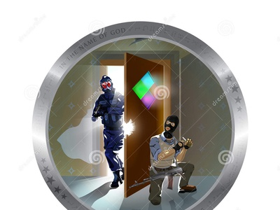 Building Inspection by Law Enforcement Authorities Art officer law inspection grenade force enforcement door counter building authorities arrow