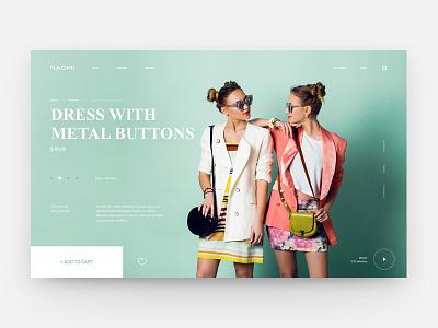 Naomi Dress Store website web ux ui interface girls store shop ecommerce dress concept