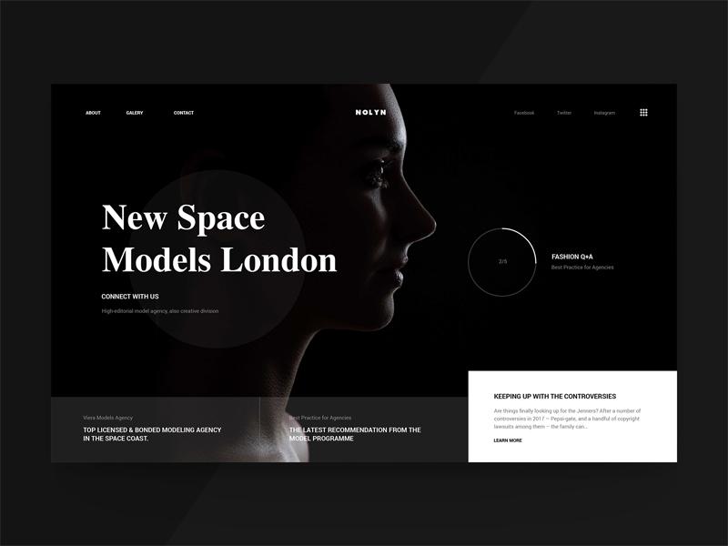 Space Models model website ux ui web minimal interaction girl grid fashion e-commerce black