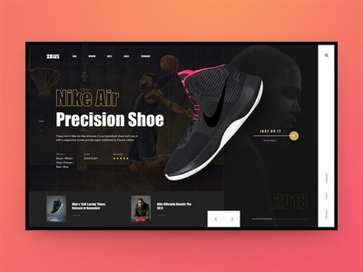 Zeus concept sport shoe ecommerce shop store nike interface ui ux web website