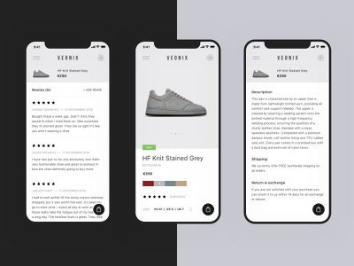 Product Page (Mobile) - Veonix ui ux web website concept interface shop store shoes sneakers e-commerce fashion ecommerce minimal