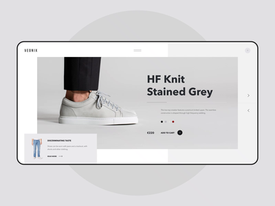 Veonix - Main Page white style sneakers shoes interaction grid black minimal fashion e-commerce ecommerce store shop interface concept website web ux ui