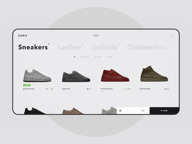 Veonix - Catalogue ui ux web website concept interface shop store ecommerce e-commerce fashion minimal black grid interaction shoes sneakers style white