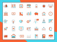 Set of Business Line Icons With Retro Color Style