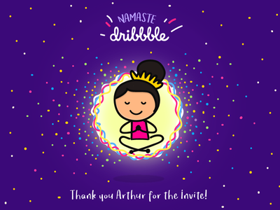 Namaste Dribbble! illustration yoga debut shot hello dribbble
