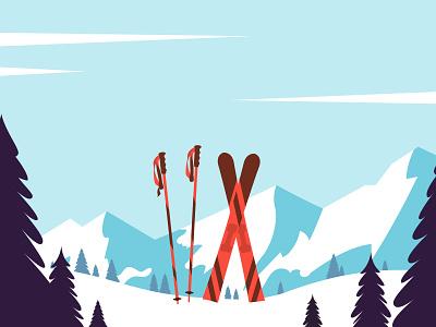 Ski resort mountain snow ski winter minimal flat illustration vector