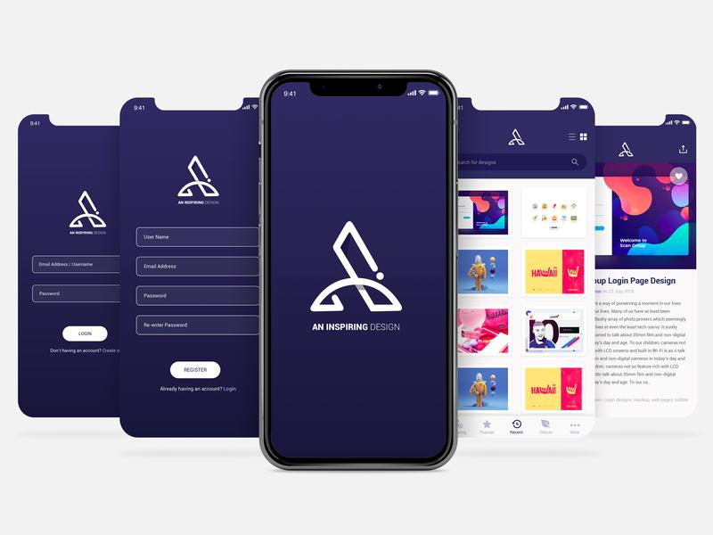 Aninspiring Design Application app designers logo design uidesign app designer inspiring design an inspiring design ui design application design app design