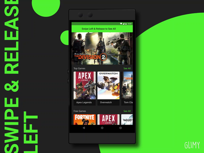 [Concept] Swipe/Pull Left to See All adobe after effects adobe aftereffects adobe xd after effects adobe xd interaction animation interaction ui ux games green phone material design material android razer motion animation design