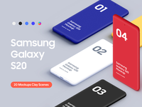 Samsung Galaxy S20 - 20 Mockups Clay Scenes - PSD samsung galaxy s20 clay s20 clay graphic design s20 bundle scenes mobile device uiux ui android mockups samsung galaxy s20 mockup galaxy s20 mockup s20 mockup galaxy 20 samsung galaxy s20 samsung s20 psd mockup psd
