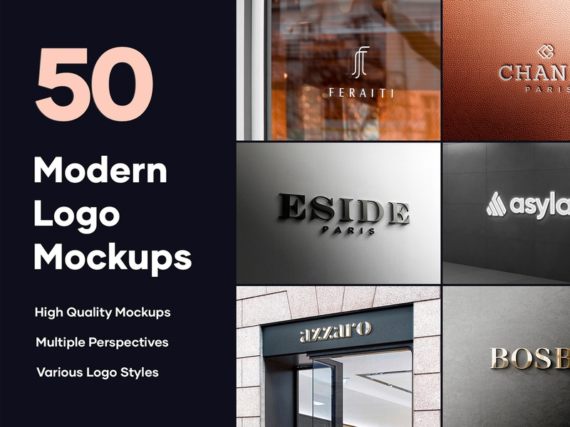 50 Logo Mockup Branding Bundle - PSD luxury psd design bundle logo illustration psd business card stationery simple clean minimalist 3d mockup 3d elegant modern mock up mockup branding brand