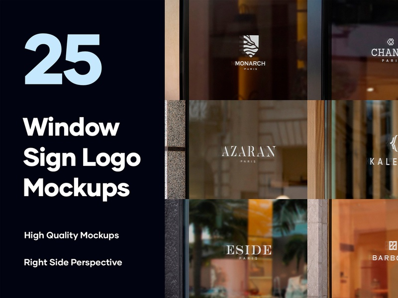 25 Window Signs Logo Mockups - PSD branding luxury brand brand store mockup sign mockup facade elegant luxury modern signage logo mockup logo store sign shop sign shop store window sign mockup graphic design psd