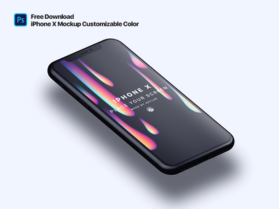 iPhone X Customizable Color Perspective Mockup iphone x mockup free iphone x iphonex free mockup download psd free