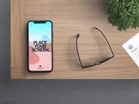 Free iPhone X in Desk Mockup