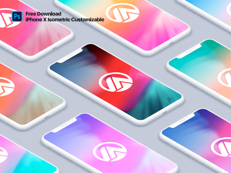 iPhone X Clay Isometric Fully Customizable Color iphone x clay clay isometric mockup iphone x iphonex free mockup download psd free freebie