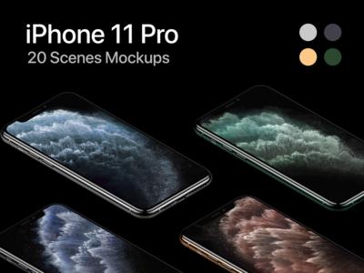 iPhone 11 Pro - 20 Mockups Scenes - PSD