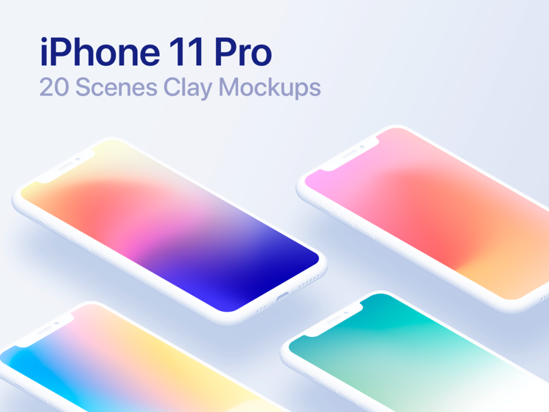 iPhone 11 Pro - 20 Mockups Clay Scenes - PSD clean iphone 11 mockup clay minimal iphone mockup device mock-up ios 13 ios iphone 11 pro iphone 11 iphone x apple app uiux user interface mockup ui graphic design psd