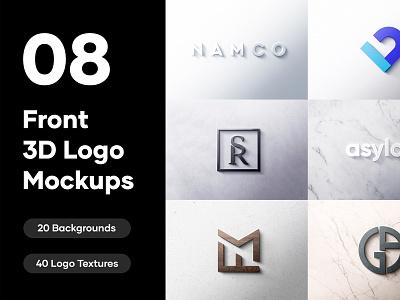 8 Front 3D Logo Mockups - PSD textured logo design graphic design 3d art logodesign presentation branding modern logo mockup 3d 3d design 3d mockup 3d design logo mockup psd
