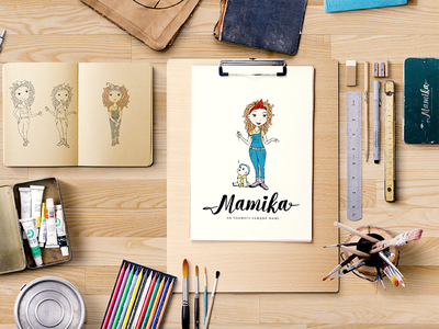 MAMIKA charecter illustration branding logotype . design graphic
