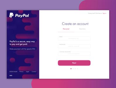 Registration form concept for PayPal.