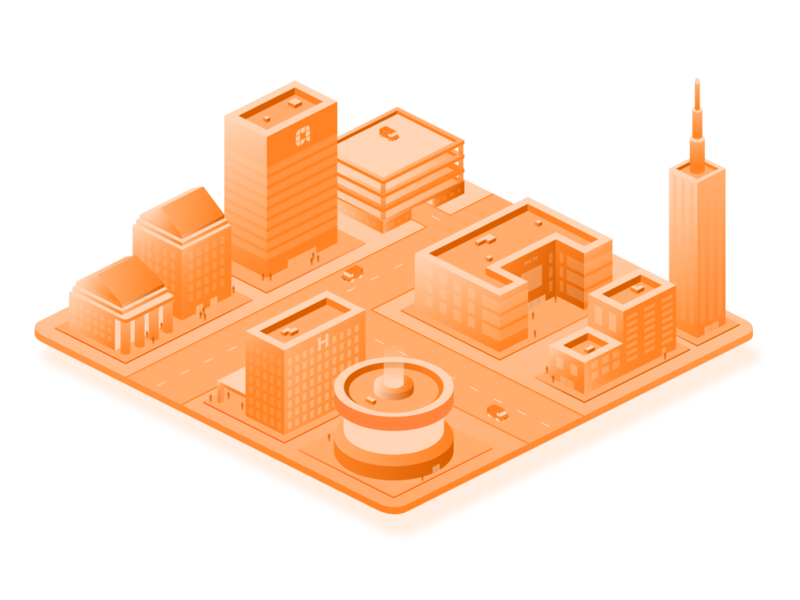 Isometric City bank school hospital roads cars buildings town city isometric illustration