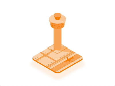 Observe Control Tower vector ilustration aniamtion design isometric airplane building adobe xd
