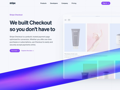 Stripe Checkout Landing Page gradient checkout ui animation landing page