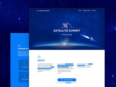 Satellite Summit conference space blue landing page summit satellite