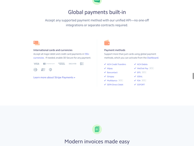 Stripe Billing stripes css animation recurring subscriptions payments landing page launch billing stripe