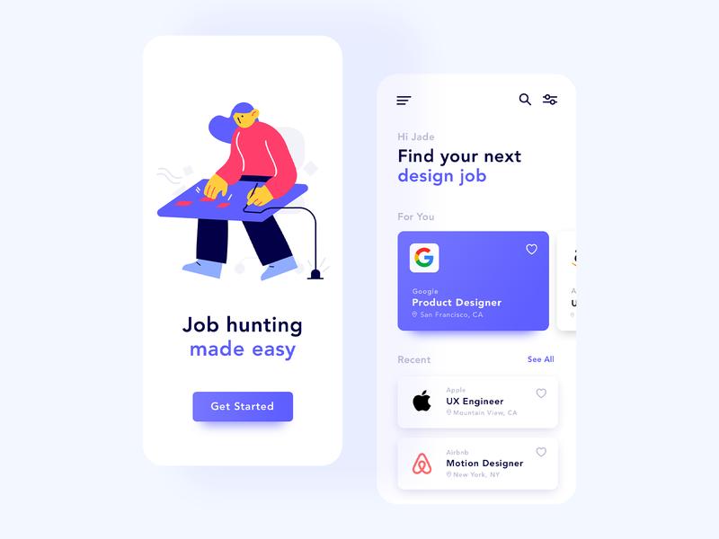 Job Finder freelance job finder jobs ui mobile design app design dailyui ui design