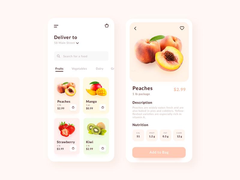 Grocery Delivery healthy food fruits produce food delivery service food delivery grocery delivery ui mobile design app design dailyui ui design