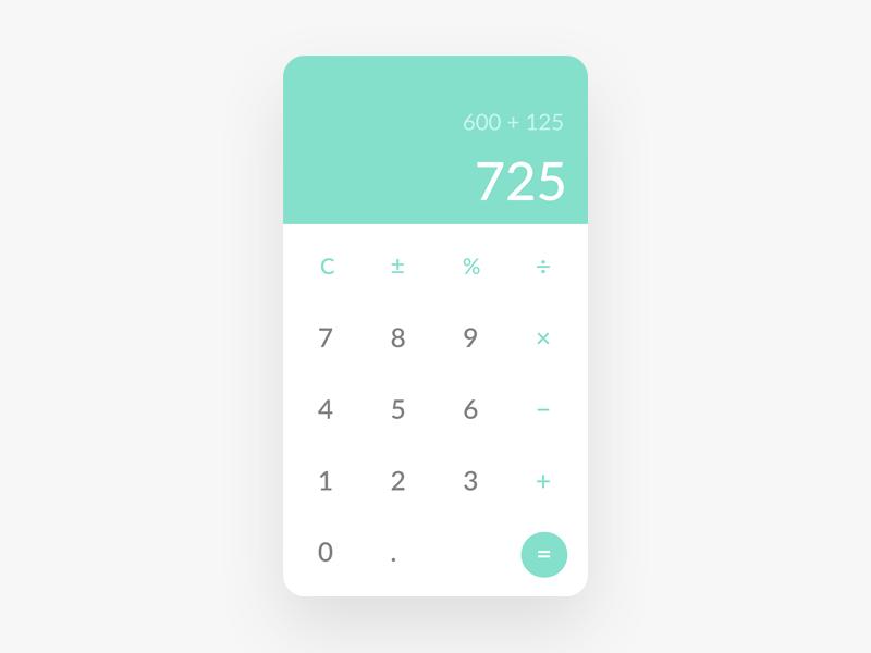 DailyUI 004 - Calculator app design ui design calculator dailyui