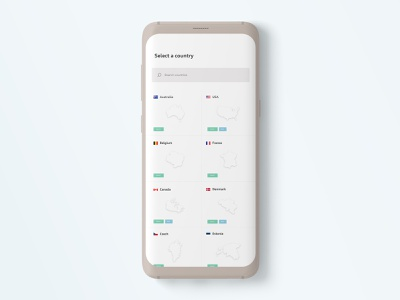 Country-list screen for a VPN app mockup apps ios user interface design user experience adobexd dailyui grid interactive ux ui