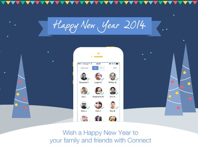 Wish a Happy New Year 2014 iphone app ios7 happy new year flat pine snow 2014 blue new design