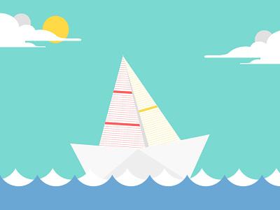 Little Sailor Birth Announcement flat design birth announcement waves paper board sailing