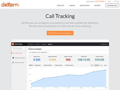 Coming soon... call tracking startup saas dexem website