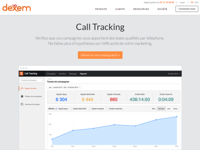Coming soon... call tracking startup saas dexem website