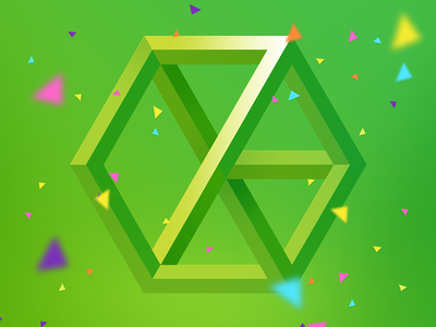 7 escher green birthday confetti anniversary 7