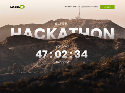 Hackathon Landing Page - Parallax Header ux ui motion form animated transition scroll hollywood mountains hackathon la parallax animation landingpage