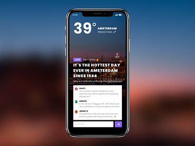 Design Challenge - Weather app hackathon climate climate change ui ux temperature global warming concept app weather weather app challenge