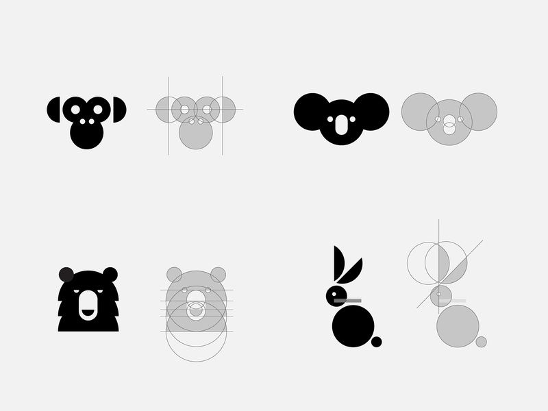 animals using only the circle koala logo bunny logo bear logo mokey logo flat construction logo logo animal animal circle logo bunny bear monkey koala logo minimal logo brand identity minimal branding visual design