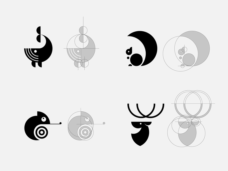 animals using only the circle design circle circle logo logo minimal logo minimal branding visual design deer logo squirrel logo chameleon logo whale logo animal logo
